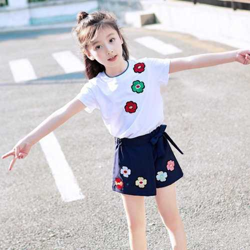 Flower Printed Toddler Girls Skirt Set
