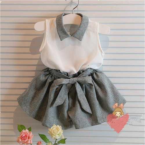 2Pcs Chiffon Girls Outfits Clothes Set