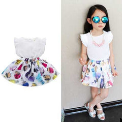2Pcs Printed Girls Summer Skirt Set