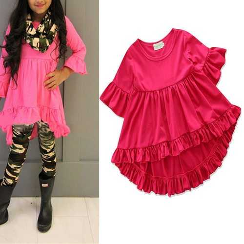 Solid Color Girls Ruffle Shirt For 1Y-7Y
