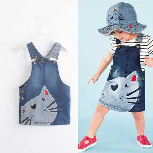Cat Print Girl Suspender Dresses For 2Y-9Y