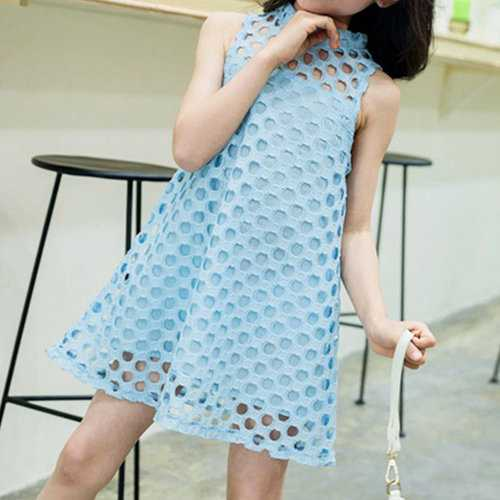 Hollow Lace Kids Girls Summer Dresses