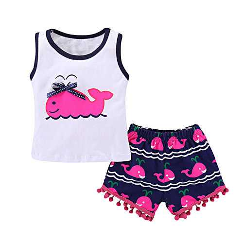 Whale Printed 2Pcs Girls Set For 1-7Y