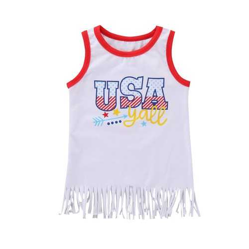 Girls Tassel Sleeveless Print T-shirt