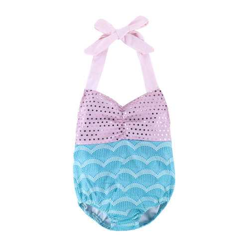 Mermaid Bowknot Girls Swimwear For 1Y-4Y