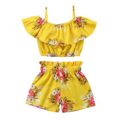 Yellow Printed Girls Summer Set For 2Y-9Y