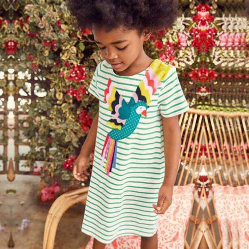 Girls Embroidery Striped Cotton Dresses