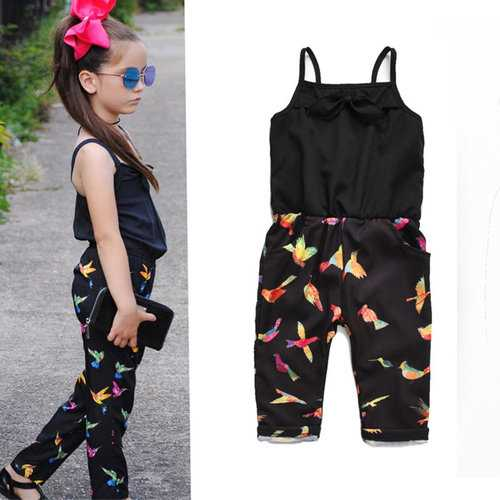 Strap Printed Summer Girls Jumpsuits