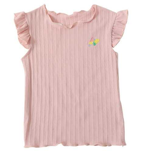 Butterfly Embroidery Girls Sleeveless Tops