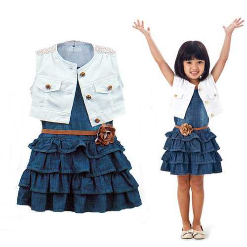 3Pcs Denim Dress Set For 1Y-7Y