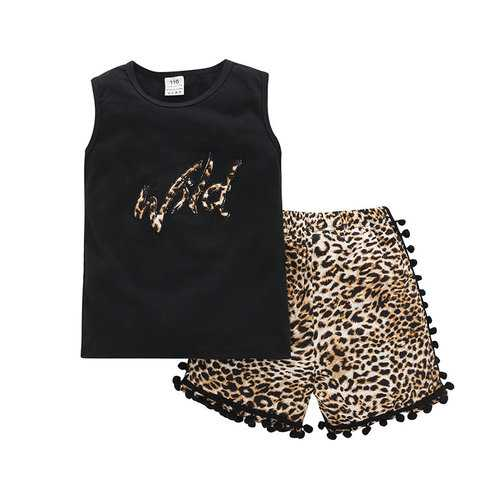Kids Girls Leopard Clothes Set