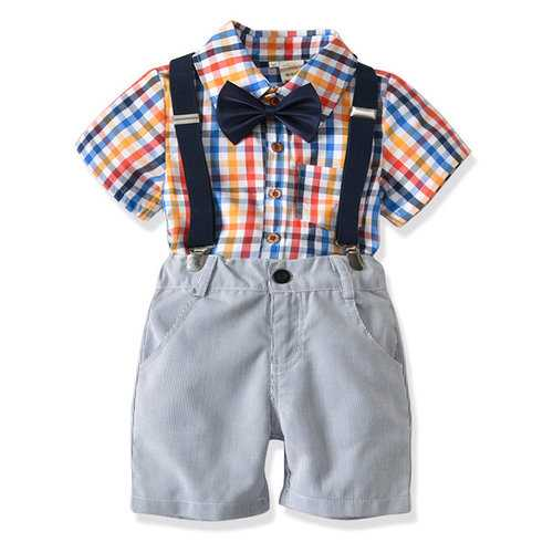 4Pcs Boys Plaid Clothing Sets