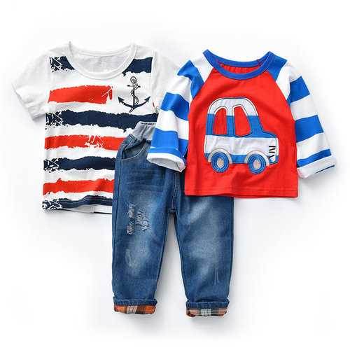 3Pcs Cartoon Print Boys Clothing Set
