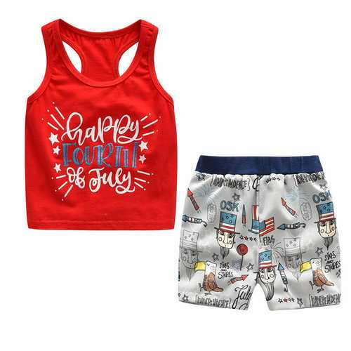2Pcs Printed Boys Clothing Set