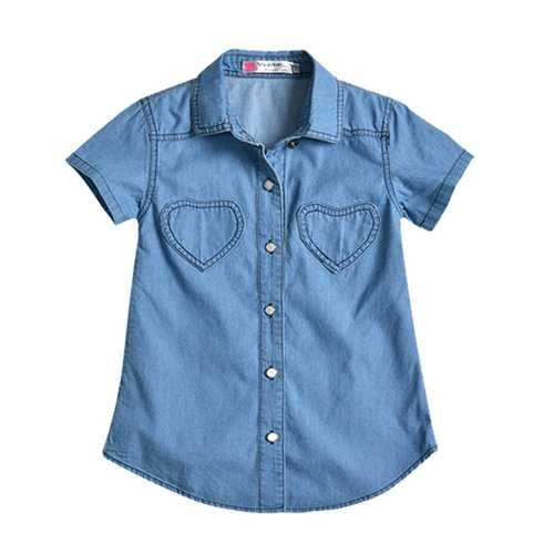 Solid Color Girls Boys Denim Shirt