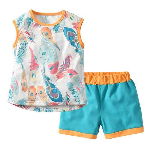 Feather Print Girls Clothing Set