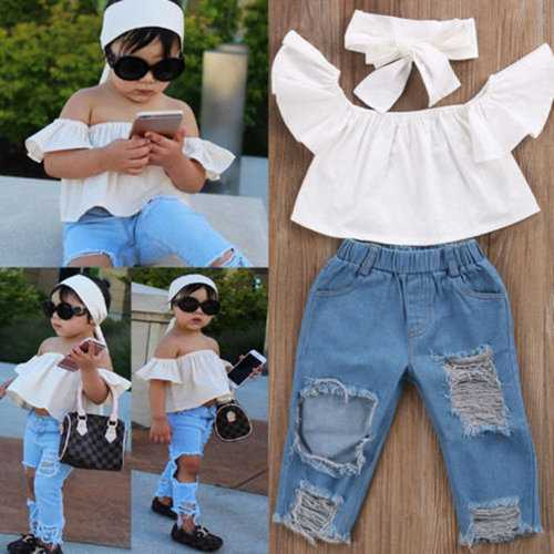 3Pcs Girls Clothes Set + Headband