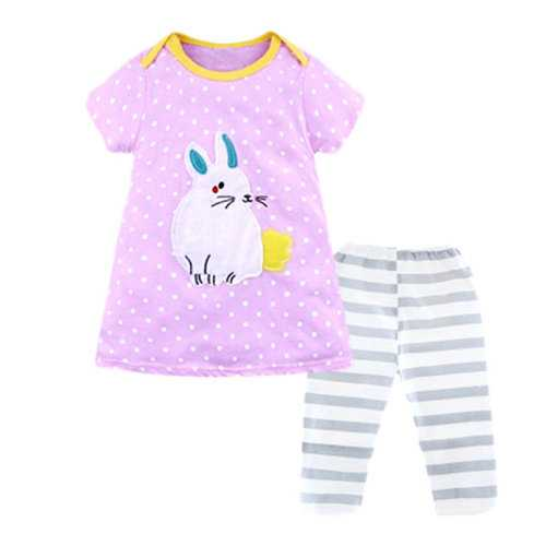 Rabbit Printed Girls Clothing Set