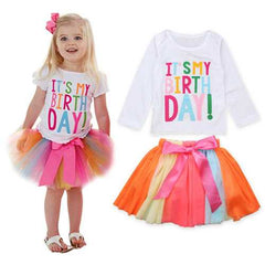 2Pcs Girls Birthday Outfits Set