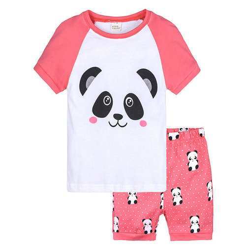 2Pcs Panda Print Girls Clothes Set For 1Y-9Y