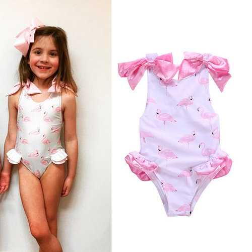 Swan Printed Girls Bows Backless Swimwear