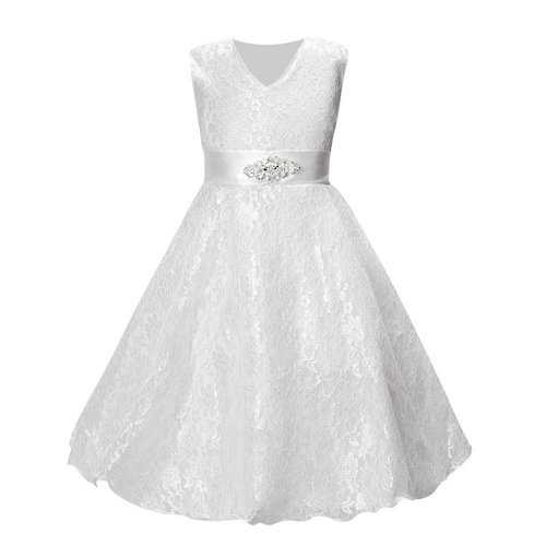 Solid Color Girls Lace Dress For 4Y-15Y