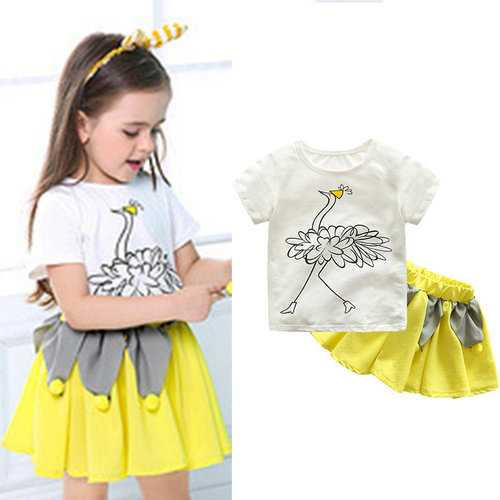 Cartoon Girl Clothing Set For 2Y-9Y