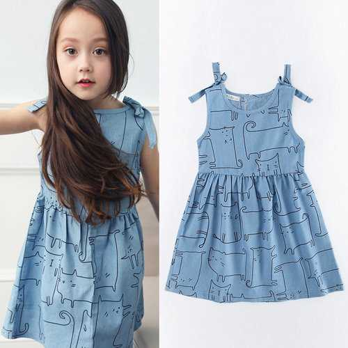 Cat Pattern Girls Denim Bow Dresses