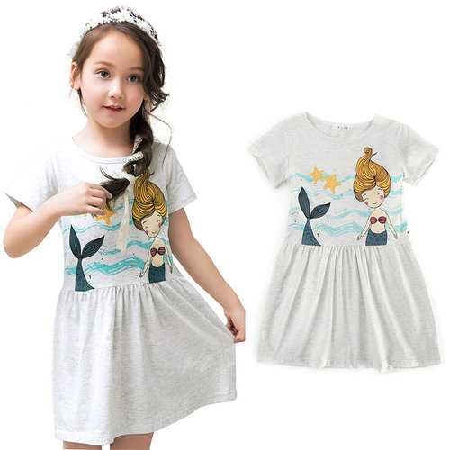 Mermaid Printed Girls Cotton Dress