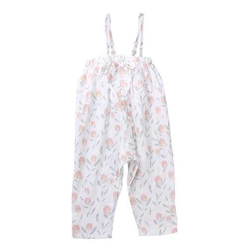 Floral Girls Sleeveless Jumpsuits For 1Y-7Y