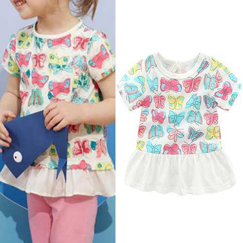 Butterfly Pattern Girl T-shirt For 1Y-9Y
