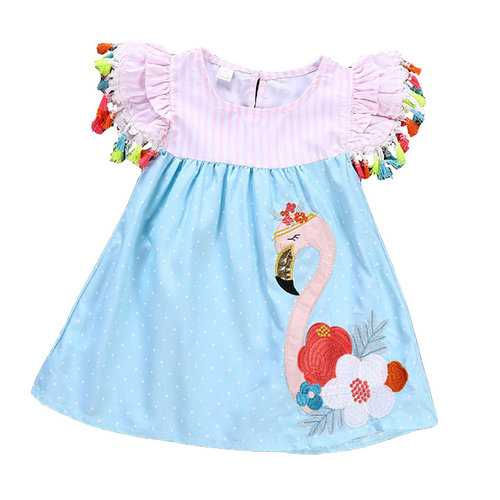 Colorblock Flamingo Girl Dress For 2-9Y