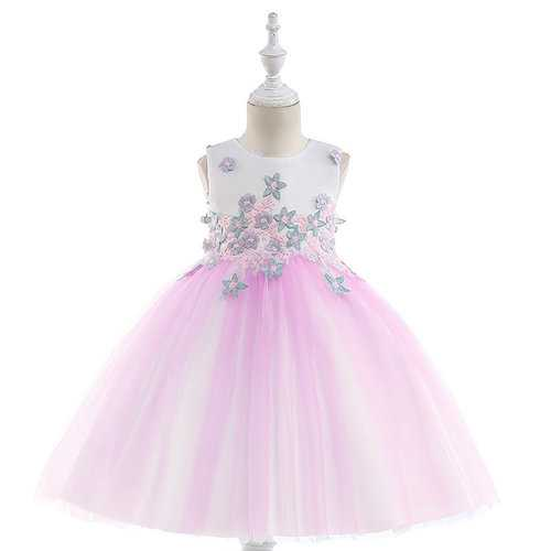 Flower Applique Girls Princess Dress For 4Y-13Y