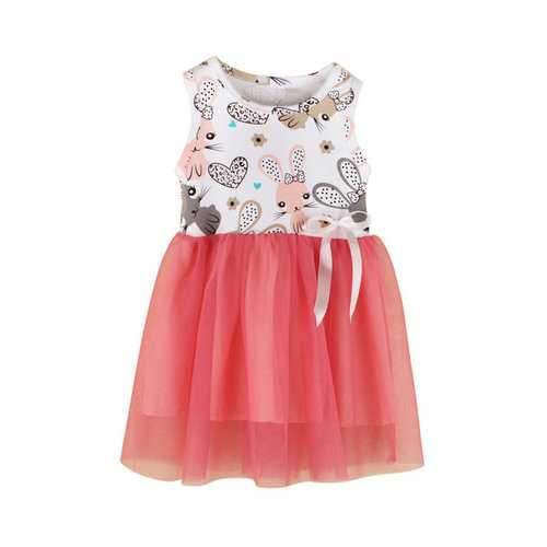 Rabbit Print Girls Casual Dress For 1Y-5Y