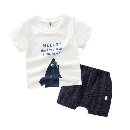 Letter Print Boys Clothing Set For 2-9Y