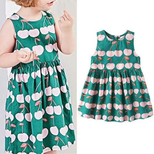 Cherry Girls Backless Dress For 2Y-9Y