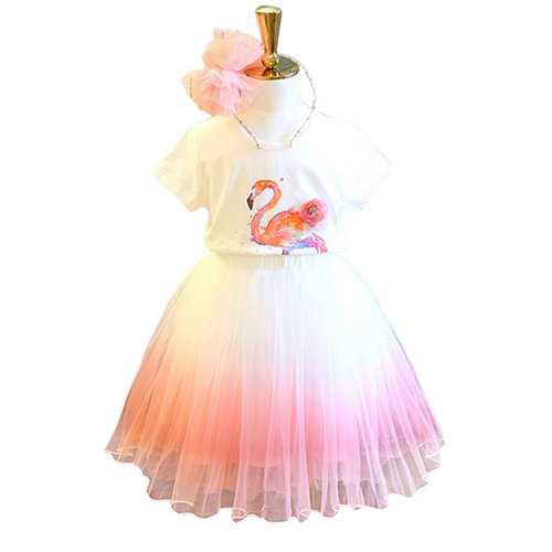 Flamingo Girls Skirt Set For 2Y-9Y