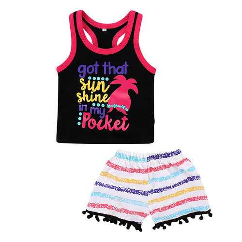 Letter Print Boys Shorts Set For 1Y-7Y