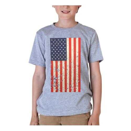 AFONiE- Kids USA Rustic Flag Graphic T-shirt-Grey Color