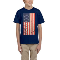 AFONiE- Kids USA Rustic Flag Graphic T-shirt-Navy Blue Color