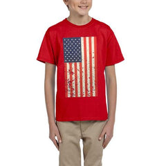 AFONiE- Kids USA Rustic Flag Graphic T-shirt-Red T-Shirt