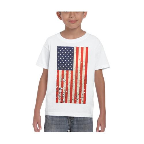 AFONiE- Kids USA Rustic Flag Graphic T-shirt-White Color