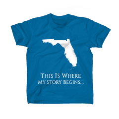 AFONiE Where My Story Begins Florida Kids T-Shirt