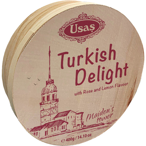 Confection - Turkish Delight - Rose and Lemon, Wooden Drum x 400g