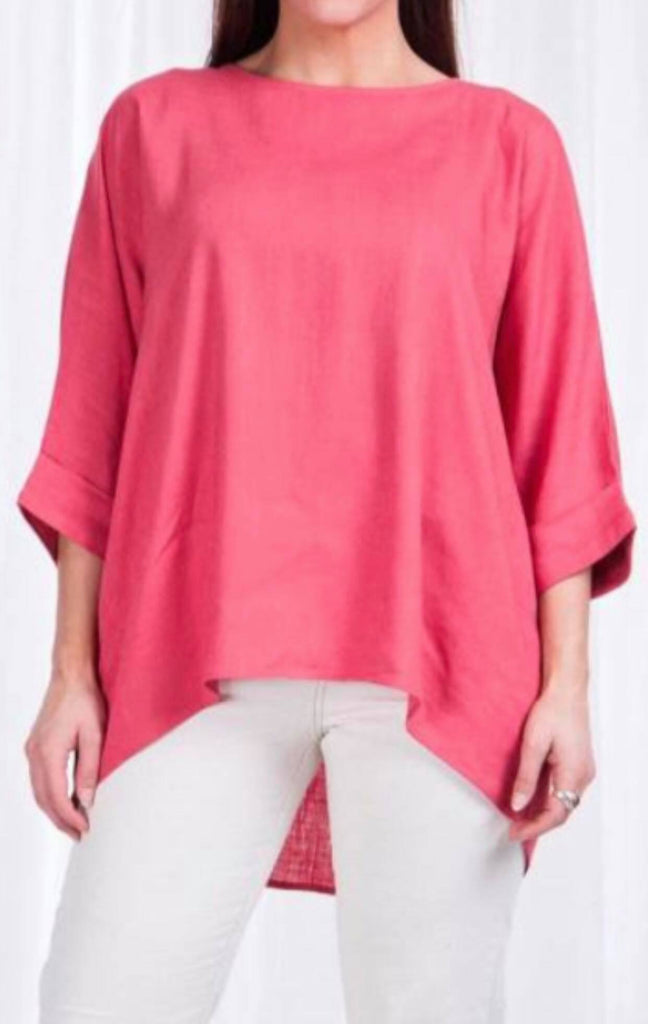 Indigo Babe - Coral Red Linen Top