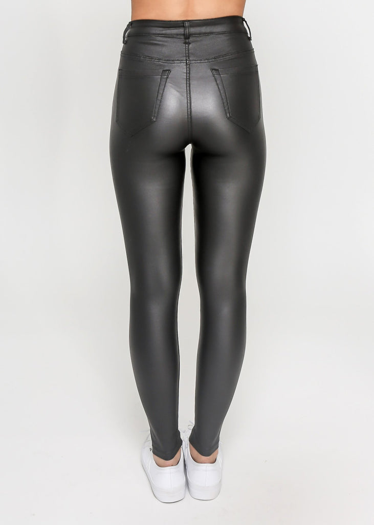 Indigo Babe - Frenchie Wet Look PU Leather Pants in Black