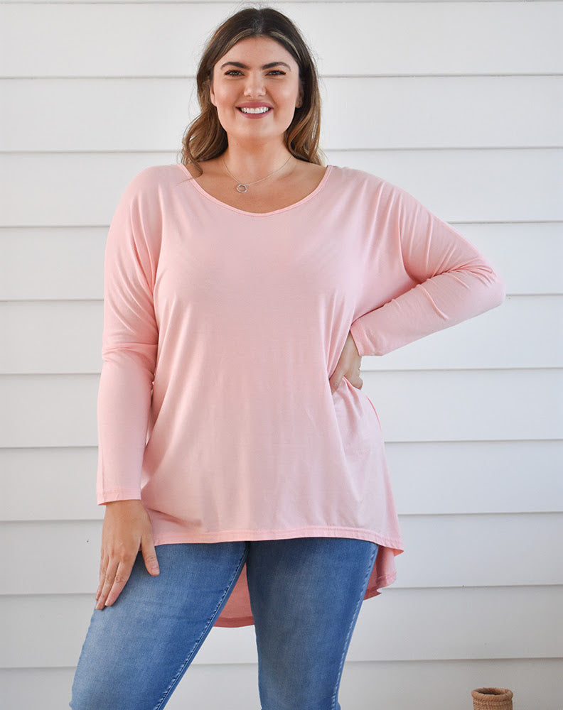 Indigo Babe - Slouch Tee in Pale Pink