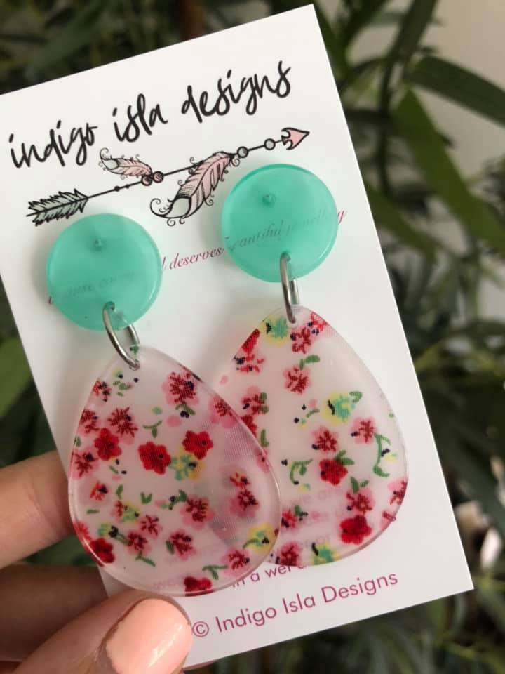 SCARLETT FLORAL EARRINGS - new from the carly.collective handmade resin range