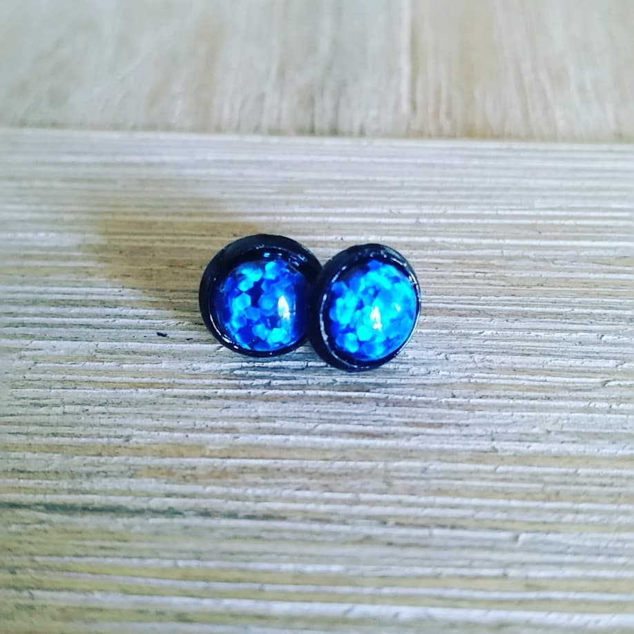 8MM GLITTER BOMB EARRINGS - 3 COLOURS TO CHOOSE FROM