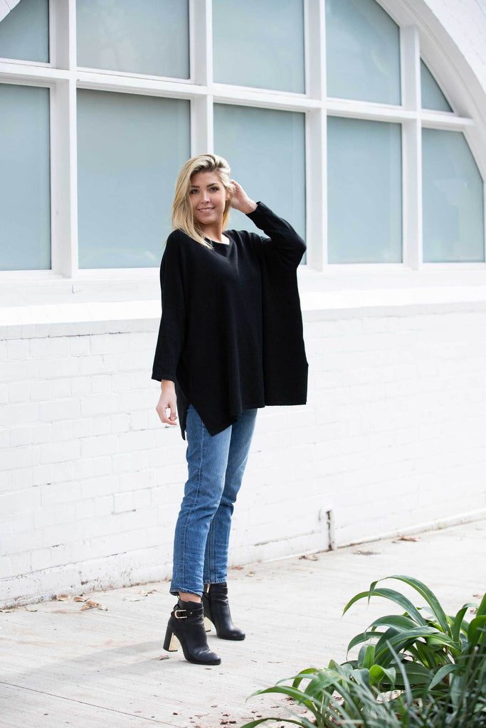 Indigo Babe - Avery Long Sleeve Sweater Top in Black